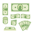 green dollar banknotes set on white background vector image vector image