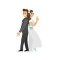 groom in suit and bride wearing gown fun spy pose vector image vector image
