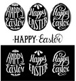 happy easter type cards in the egg shape vector image vector image
