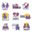 happy retirement for elderly people nursing home vector image vector image