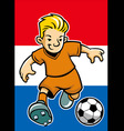 holland soccer player with flag background vector image vector image