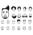 Male icons set with different hairstyle and emotio vector image vector image