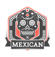 mexican vintage isolated label with skull vector image vector image