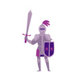 middle ages knight in armour with sword flat vector image