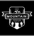 mountain bear and forest trees silhouettes logo vector image vector image