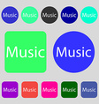 music sign icon Karaoke symbol 12 colored buttons vector image vector image