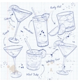 New Era Coctail Set on a notebook page vector image