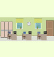 office room interior including three work spaces vector image vector image
