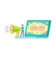 online advertising in laptop megaphone vector image