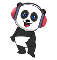 panda with headphone on white background vector image vector image