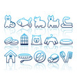 pets care icon set vector image vector image