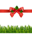 red ribbon with holly berry and firtree vector image vector image