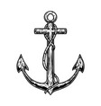 retro anchor in engraving style design element vector image vector image