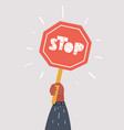 road sign stop in hand vector image