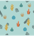 seamless cactus pattern and hand drawn textures vector image