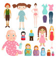 set icons small girls dolls playing with toys vector image vector image