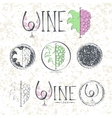 Set labels wine with grapes lettering and logo vector image vector image