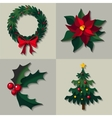 set of christmas floral decorations vector image vector image