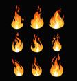 set of fire flames different vector image vector image