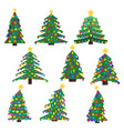 set of nine christmas trees with christmas balls vector image