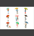 set of people with colorful umbrellas smiling man vector image vector image