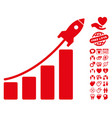 startup rocket bar chart icon with love bonus vector image vector image