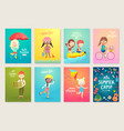 summer kids card set swimming playing on the vector image vector image
