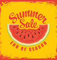 summer sale banner with bitten piece watermelon vector image