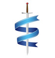 sword and blue ribbon vector image