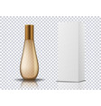 transparent gold perfume cosmetic bottle container vector image