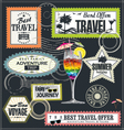 Travel Post stamp set vector image