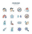 variety epidemic virus icons vector image vector image
