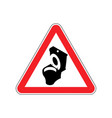 Warning wc toilet bowl on red triangle road sign vector image
