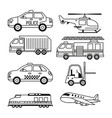 white background with monochrome set of vehicles vector image vector image