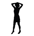 young girl posing black silhouette vector image
