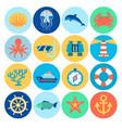flat marine icons vector image