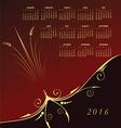 2016 Elegant floral calendar vector image