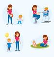 bebisitter deals with children the nanny feeds vector image vector image