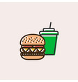 burger and soft drink icon vector image vector image