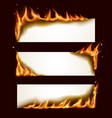 burning paper horizontal banners with fire vector image vector image