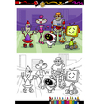 cartoon robots group coloring book vector image vector image