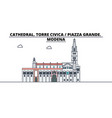 cathedral torre civica - piazza grande modena vector image vector image