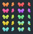 Colored butterflies isolated on dark background