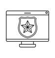 computer screen with shield and star isolated icon vector image