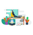 concept man and woman yoga in work space vector image
