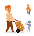 delivery man boy service workers and vector image vector image