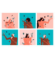 diverse women character set with butterfly vector image