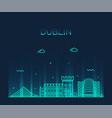 dublin skyline ireland linear style city vector image vector image