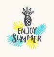 enjoy summer modern hand drawn lettering phrase vector image