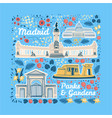 famous parks and gardens of madrid vector image vector image